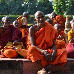 monaci a bodhgaya in bihar in india