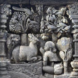 un dettaglio degli intarsi del borobudur a yogyakarta