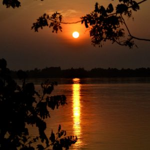 tramonto sul mekong in laos