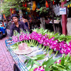 venditore di orchidee a Bangkok Thailandia