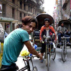 riscio a pedali a kathmandu in nepal