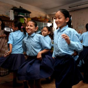 alunni di una scuola di patan in nepal